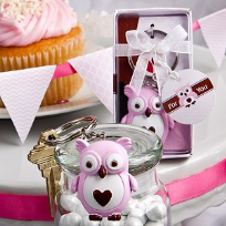 Cute Little Pink Owl Key Ring Favours